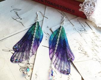 """NEW large pretty """"deep purple Rainbow Faerie wing earrings"""""""