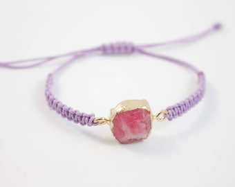 Woven Lilac Bracelet with Agate Gem