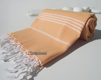 Best Quality Hand- woven Turkish Cotton Bath Towel or Sarong-Pale Orange and White Stripes