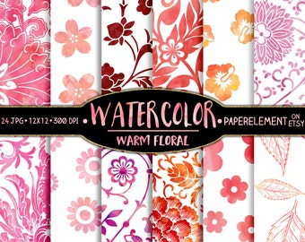 Watercolor Flowers Paper: Watercolor Floral Patterns in Fiery Reds, Warm Oranges, Soft Pastel Pinks - Watercolor Floral Backgrounds Download