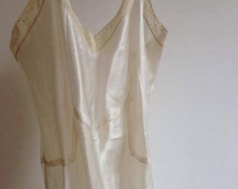 Handmade French Slip, white silk with incredible bust detail S/M
