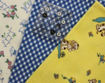 Baby Prints Puppy Lamb Check, 3 Fat quarters, 100% cotton flannels