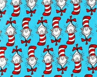 The Cat in the Hat Celebrate Dr. Seuss for Robert Kaufman Fabrics, cat heads, 1/2 Yard