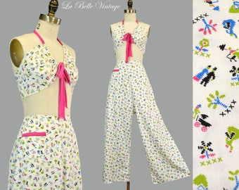 Novelty Print Beach Pajamas Vintage High Waist Pants ~ Cropped Bra Top
