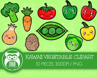 Premium Clipart - Kawaii Vegetables Clipart - Cute Vegetables Clipart - High Quality PNG Clipart - DPI Clipart