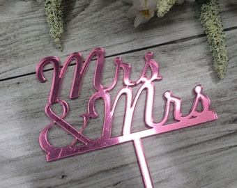 Mrs and Mrs Gay Lesbian Wedding Cake Topper - Choose your colour!