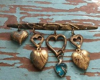 Brass Heart Bar Pin