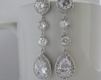 Long Bridal Cubic Zirconia Earrings Wedding Crystal Earrings Wedding Teardrop Long Rhodium Earrings