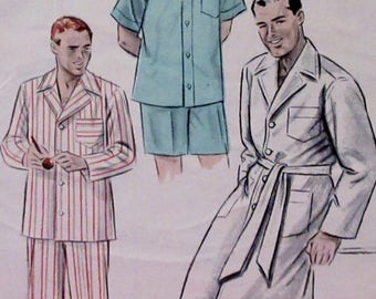 Vintage 1950s  Butterick Pajamas in two Lengths & Robe Sewing Pattern #6317  Small 34-36