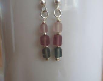 Frosted Pink and Grey Glass Dangle Earrings