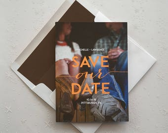 Photo Save The Date, Save the Date Cards, Announce Engagement, Wedding Date, Wedding save the date, foil accents/Everlasting Photo/AA6601