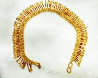 Beaded Necklace  Gold Beaded Fringe Necklace