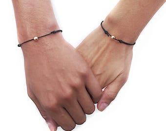Matching Bracelets Clothing Gift Couples Bracelet Set Boyfriend Girlfriend Bracelets Cord Bracelet Sterling Silver Jewelry Gift for him