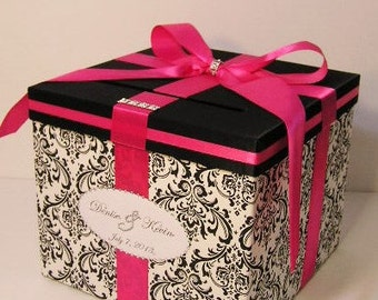 Wedding  Card Box Damask and Shocking Pink /Fuchisa Gift Card Box Money Holder-Customize your color