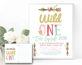 WILD ONE TIME Capsule sign Wild one Time capsule game with cards Wild one first birthday memento sign well wishes predictions sign Printable