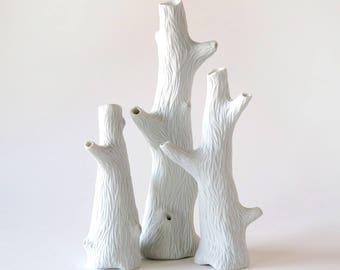 White porcelain carved mini tree vases, faux bois