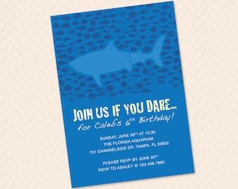 Shark Birthday Party Invitation Design