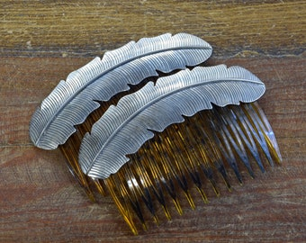 Vintage Southwestern Sterling Silver Feather Combs 1 Pair