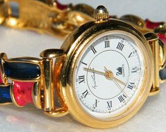 Vintage Gloria Vanderbilt Quartz Gold Tone Faux Enamel Bracelet Watch