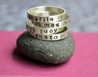 Personalized Dog Name Ring in Sterling Silver with Paw Print, Paw print ring, Pet Loss, Pet Memorial gift