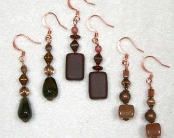 Beaded Earrings drop brown red copper