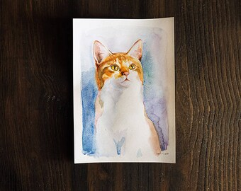 Ginger white cat portrait original watercolor painting, animal art, home decor for cat lovers, cute kitty