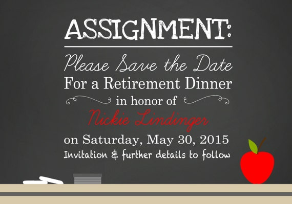 Chalkboard Teacher School Retirement Party Invitation Save - Save the date retirement party template