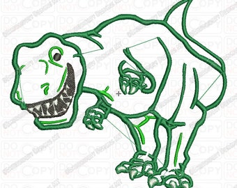 Smiling T-rex Dinosaur Applique Embroidery Design in 4x4 and 5x7 Sizes