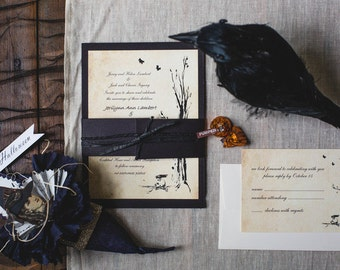 Raven Halloween Theme Wedding Invites