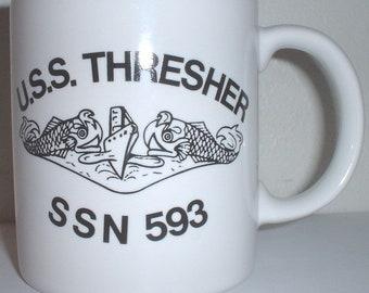 USN US Navy USS Thresher ssn-593 ceramic  coffee mug,
