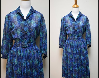 Vintage 50s/60s SERBIN SHIRTWAISTER Multi Royal Blue Sheer Day Dress Size XS