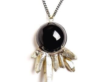 Black Onyx Crystal Cluster Necklace