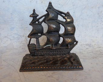 Vintage Cast Iron Single Bookend Constitution Sailing Ship