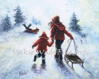 Three Sisters Sledding Art Print, three girls, children snow sledding, burgundy wall art, girls sledding, snow, winter art, Vickie Wade Art