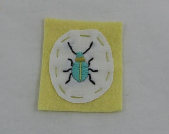 Aqua Beetle Embroidered Patch