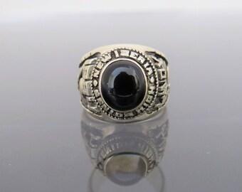 Vintage Sterling Silver Black Onyx 1984 High School Men's Ring Size 10.25
