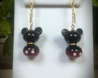 Mickey Mouse Artisan Lampwork Earrings