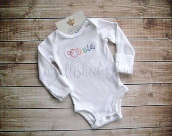 Rainbow Name Personalized T-shirt or Onesie for Girls or Boys, Rainbow Baby Vintage Script