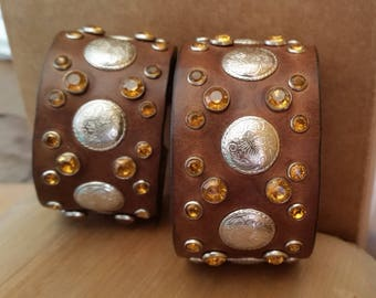 BROWN LEATHER BLING Cuff Bracelet with Amber Crystal Studs & Silver Conchos. Womens Girls Rhinestone Jewelry. Small Womens Leather Bracelet.