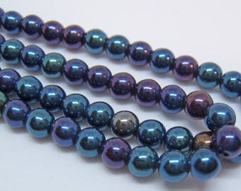 50 - Beautiful 4mm Czech Glass Blue Iris Round Beads