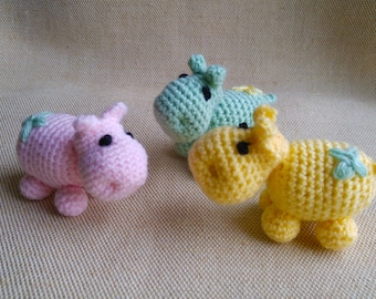 Amigurumi Hippo, Crochet Plushy Hippopotamus, Stuffed Animal Toy, Baby Shower Gift, Party favor, Set of 3