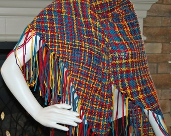 Handwoven shawl, primary colors, woven wrap, wrap scarf, vegan shawl, women's wrap, fringe scarf, triangle shawl, wrap, vegan shawl