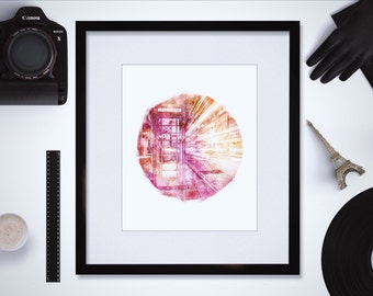 Downloadable London Art Print - London Phone Booth - London Wall Art - London Watercolor - Geometric Art Print - Circle Print - Office Decor