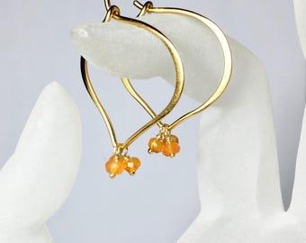 Carnelian Gold Hoops, Medium or Large Lotus Ear Wires, Vermeil