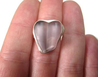 Vintage Pink Beach Glass Heart Ring Sterling Size 5.5