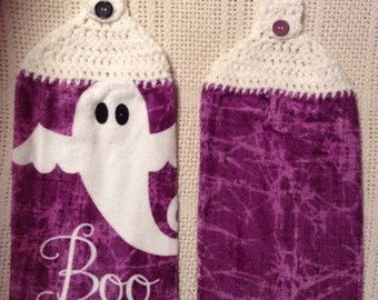 Crocheted Top Dish Towel - Halloween Ghost. 2-piece set