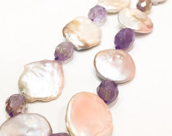 Large Pink Pearl and Ametrine Necklace on 925 Silver Clasp