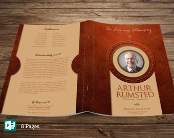 Leather Funeral Program Publisher Template - Large, Tabloid Print Size, 8 Pages