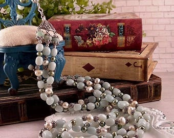 Handmade Amazonite and Pearl Necklace or Necklace & Bracelet