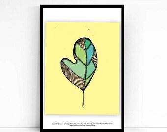 Sassafras leaf print- 8x10 art print - rag quilt pattern - yellow print - originally pen and ink - fall decor- thanksgiving - art quilt